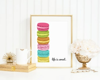 Kitchen Art Print - Life is Sweet Macaroon Print for Modern Kitchen Wall Decor - Dessert Art Typography