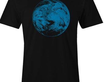 Men's Planet Earth T Shirt - Earth from Outer Space Print T Shirt - American Apparel TShirt - Blue Ink - Item 2408