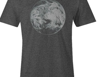 Men's Planet Earth T Shirt - Earth from Outer Space Print T Shirt - American Apparel TShirt - Gray Ink - Item 2409