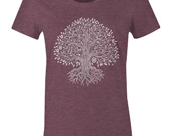 Tree Of Life T Shirt - Tree TShirt - American Apparel Womens Poly Cotton T-Shirt - Item 2182