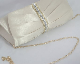 Champagne Wedding Clutch, Champagne and Gold Bridal Clutch, Bridesmaid Clutches, Satin Ruched Champagne Bridal Handbag Crystal Bridal Clutch