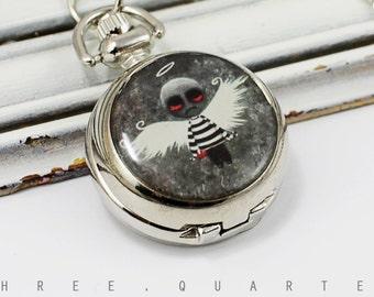 Zombie, watch chain, chain watch, undead, dead, angel wing, watch, gift, necklace, walking dead, pocket watch, zombies, halloween