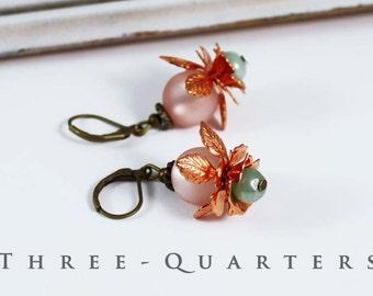 Earrings, copper, mint, turquoise, mint green, old rose, pink, flowers, floral, vintage, boho, leaves, wedding, bride, nostalgic
