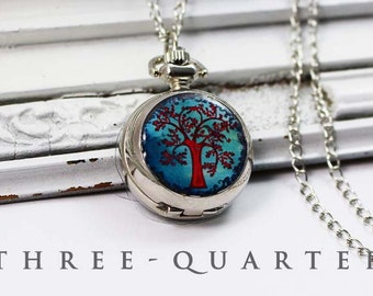 Pocket watch, chain watch, tree, turquoise, red, watch chain, desire, India, soul, relax, wishing tree, vintage, boho silver, necklace