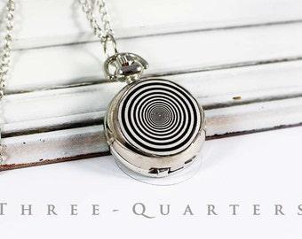 Spiral, pocket watch, chain watch, black, white, steampunk, clock, chain, abstract, rockabilly, silver, boho, necklace, watch chain