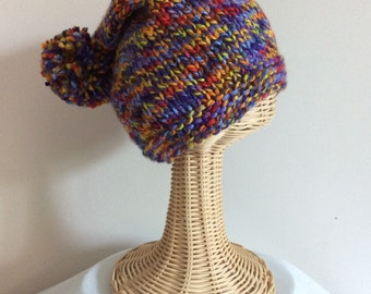 Adult Hat, Slouchy Hat, Hand Knit, Multi-color Hat