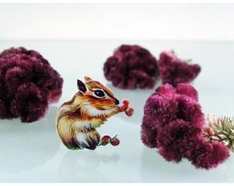 Brooch Pin - Animal brooch, chipmunk, illustration