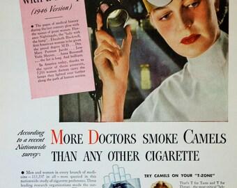 1946 Camel Cigarettes Woman Doctor Smoking Vintage Print Ad