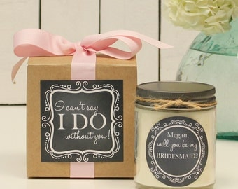 Will you be my Bridesmaid Gift // Will you be my Maid of Honor Gift // Bridesmaid Candle // Maid of Honor Candle - Chalkboard label
