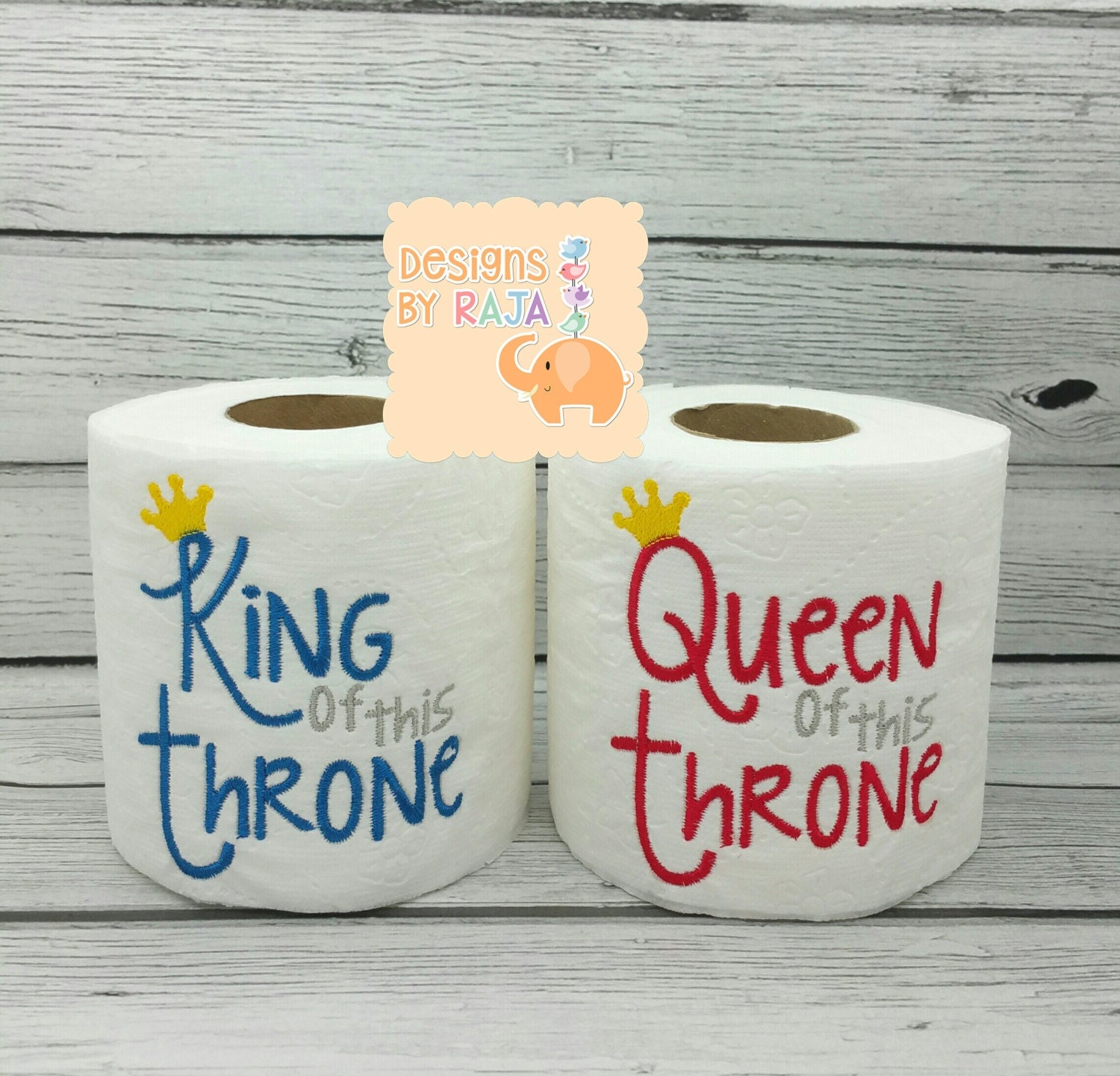 King or queen of the throne embroidered toilet paper gift for
