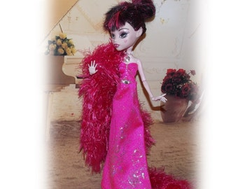 "Handmade Hot Pink Evening Gown & Fun Fur Crocheted Stole. Fits Original sized 11"" tall slimline dolls the size of Monster High."