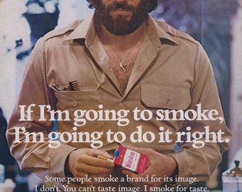 1974 Winston Cigarettes Ad 70s Man with Beard Photo Bar Wall Art Decor
