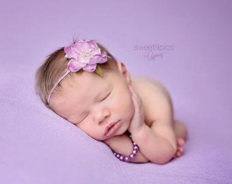 FLOWER HEADBAND, Newborn Headband, Purple Headband, Purple Flower, Photo Prop, Baby Headband, Newborn Headband, Photography Prop