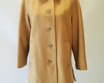 Womens Vintage Soft Winter Coat - Beige - Lined  - Minimalist - Peacoat - Jacket