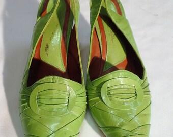 Womens Vintage Green Leather Slingback Heel - Sandal - Pump Katy-A - Size 45 - Size US 5