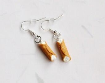 Miniature Cannoli Earrings, Cannoli Earrings, Miniature Food Jewelry