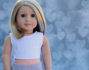 White CROP TANK TOP for 18 Inch Doll
