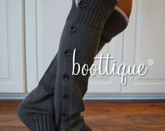 CLOSEOUT!  Boot Cozies in Charcoal Gray: Lace and Button Leg Warmers and Boot Socks