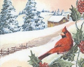 4 Decoupage Napkins | Christmas Cardinal Cabin in the Snow | Bird Napkins | Christmas Napkins | Paper Napkins for Decoupage
