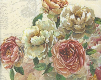 Decoupage Napkins | Roses and Postcards  | Rose Napkins | Floral Napkins | Romantic Napkins | Paper Napkins for Decoupage