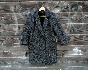 Women's Petite Tweed Marled Cocoon Coat - Size Small