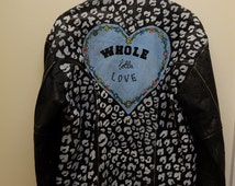 Hand Painted Leather Jacket 'WHOLE LOTTA LOVE'