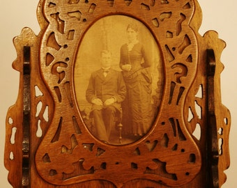 Vintage Hand Carved Wooden Picture Frame on Stand w/Vintage Photo