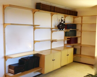 Mid Century Modern Wood Wall Unit 5 Section Floating Modular, Vintage Danish Floating Bookcase, MCM Bar,Retro Bamboo Hanging Cupboard,Office