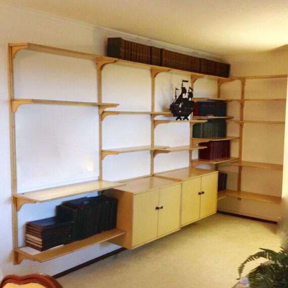 Items similar to mid century modern wood wall unit 5 for Modern wall bar unit