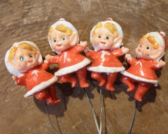 4 Miniature Elf Pixie Christmas Pick Vintage Topper Package Tie On Girl Pixie (#375)