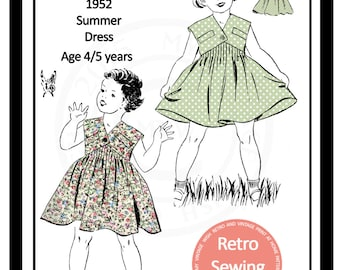 Little Girls Summer Dress 1950s Vintage French Sewing Pattern - Paper Pattern