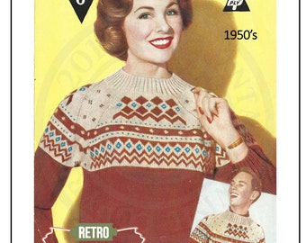 1950s Fair Isle Sweater - Vintage Knitting Pattern - PDF Instant Download