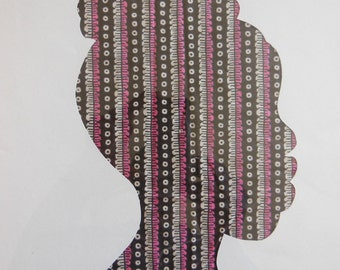 Female silhouette in brown and pink fabric, cut paper art - bedroom art