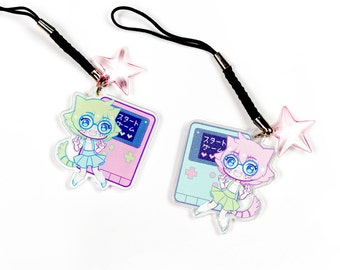 "NerdCat 1.5"" Acrylic Charm with Phone Strap (Double-Sided)"
