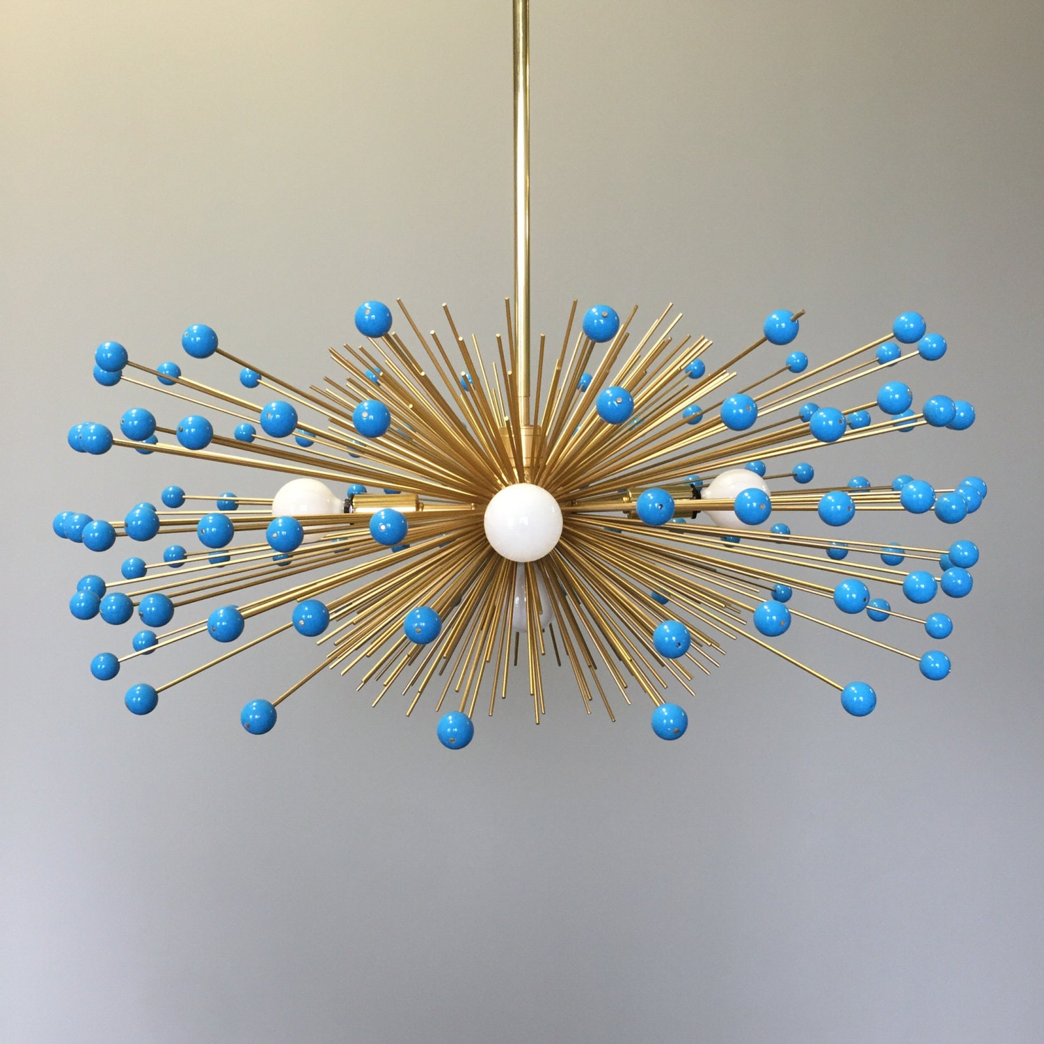 5 bulb brass turquoise beaded urchin chandelier by duttonbrown