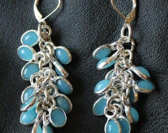 Blue, Chalcedony Gemstone 7mm Dangle Bead Earrings, Sterling Silver, Blue Chalcedony Earrings