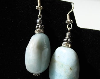 Natural, Amazonite Gemstone 30mm Nugget, Silver Earrings