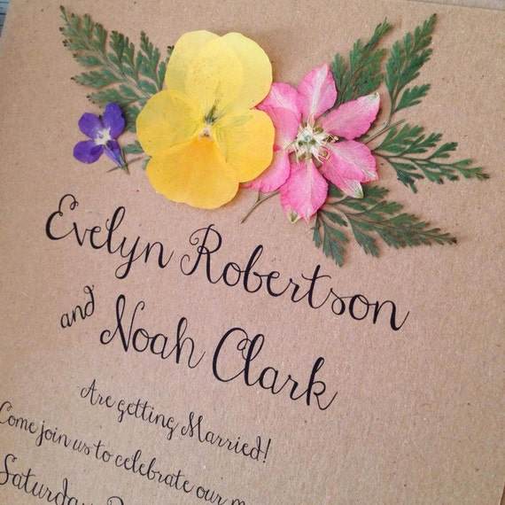 Floral wedding invitation boho rustic invites with real for Wedding invitations with real flowers