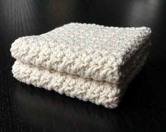 Cotton Crochet Washcloth / Spa cloth, bath or shower, Set of 2, color cream, model #3