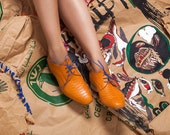 Women's Oxford Shoes - Womens orange Shoes - orange Flat Shoes - Leather orange Shoes - Women derby  orange- ARAMA hand made
