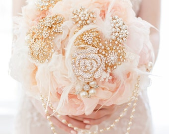 Custom Peach Blush Fabric Flower Gold Pearl Brooch Bouquet, Fabric Bouquet, Handmade Alternative Bridal Bouquet, Cascading Jewellery Bouquet