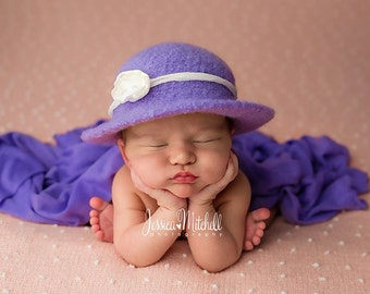 Newborn Lavender Sunhat, Photography Props, Felted Hat, Newborn Hats, Newborn Photo Props, Newborn Photography, Crochet Baby Hats, Purple