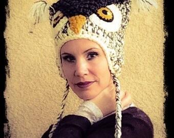 100% WOOL*** Ivory Hoot Owl Costume Crochet Hat