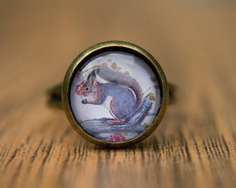 Squirrel Ring, Animal Ring, Nature, Woodland, Glass Dome Ring, Adjustable Ring, Statement Ring