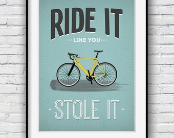 Cycling gifts, Cycling poster, Bike, Bicycle art, Quote poster, Bike art print, Motivational poster, Cycling