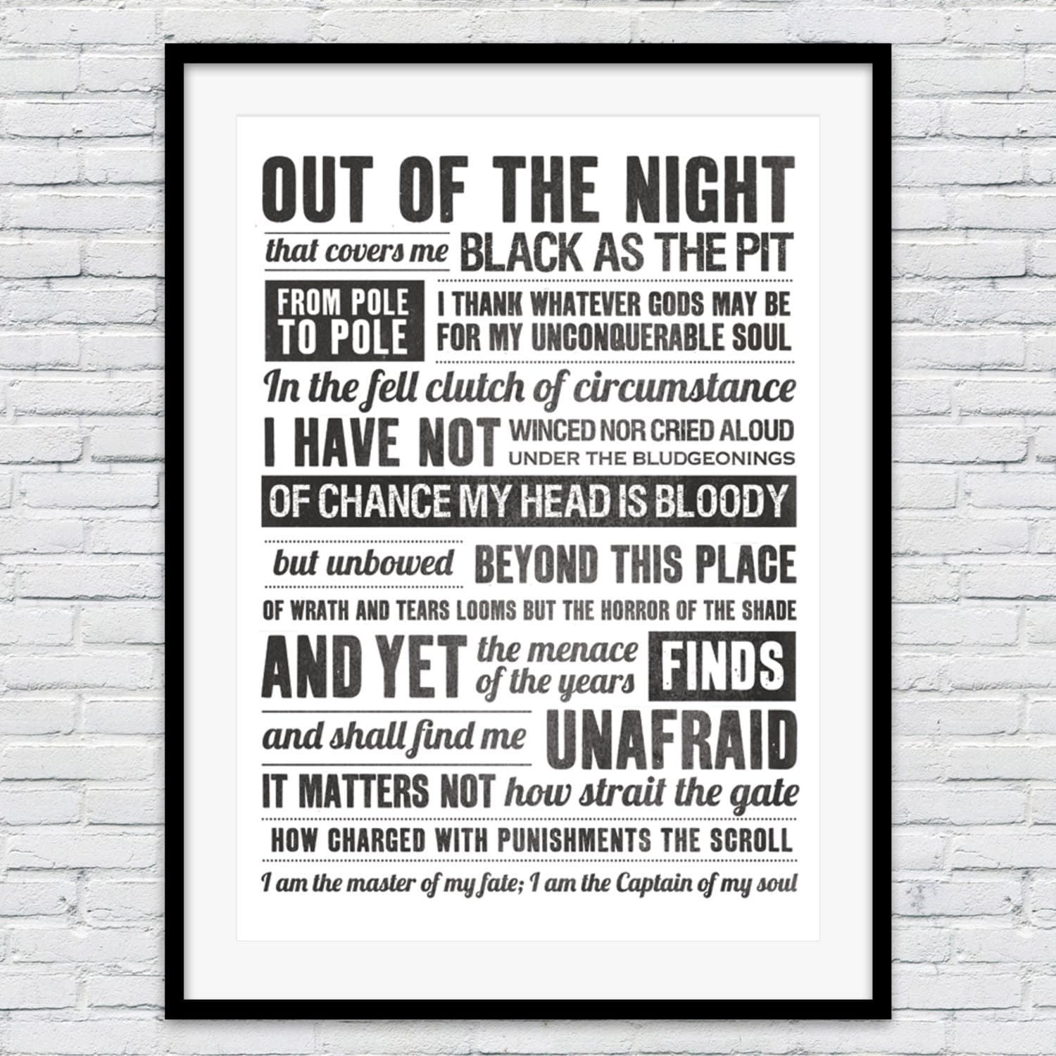 Invictus poem poem print i am the master of my fate