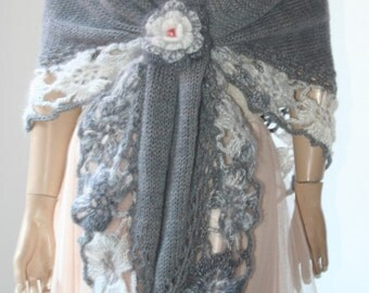 Hand Knitted Triangle Shawl mohair grey/Accessories Shawl Shrug Bolero /Crochet Elegant Brooch /Women Gift