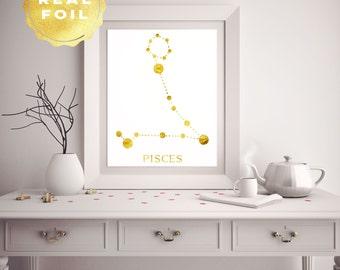 Pisces Constellation - Pisces Star Sign - Zodiac Pisces - Zodiac Art - Wall Art Print - Astronomy Art - Constellation Art - Astronomy Print