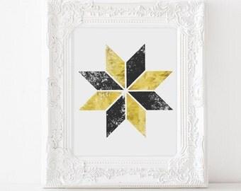 Gold Abstract Art - Abstract Geometric Art - Black and Gold - Gold Geometric Art - Gold Foil Prints - Pinwheel - Wall Art - Office Decor
