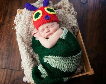 Crochet Caterpillar Cocoon and Beanie / Photo Prop / Costume
